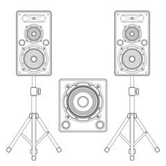 vector dark outline loudspeakers kit satellites on stands