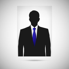 Profile picture whith blue tie. Unknown person silhouette