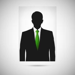 Profile picture whith green tie. Unknown person silhouette
