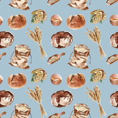 Seamless pattern with bread, flour . Watercolor illustration.