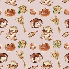 Seamless pattern with bread, flour. Watercolor illustration.