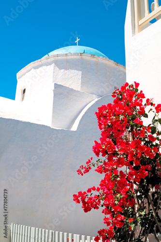 Staande foto Athene Belfry at blue sky on Mykonos island, Greece