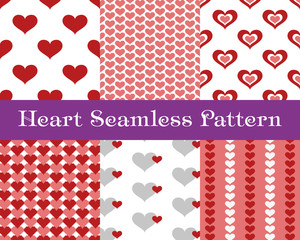 Heart seamless patterns. Valentines day tiling vector background