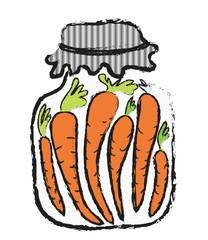 doodle Jar of  carrot, winter stores, halftone texture