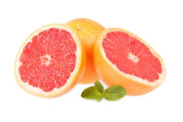 Fresh grapefruits and mint
