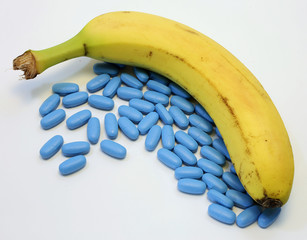 banana with many blue pills for male problems