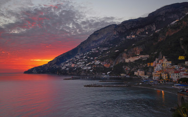 Amalfi sunset. Salerno gulf. Italy.