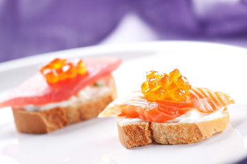 Salmon Canapes on a Baguette with Cream Cheese