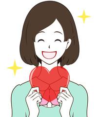 女性 ハート 笑顔