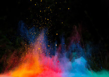 "Постер, картина, фотообои ""launched colorful powder over black"""