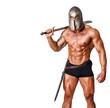 Hot warrior in black pants and helmet is holding sword in his sh