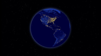 Planet earth at night rotating in space
