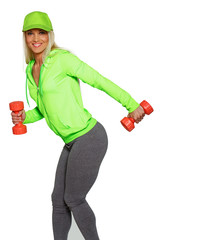 Blondie in coat and panties with red dumbbells