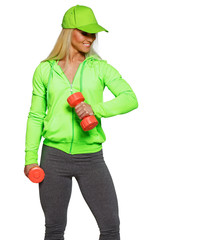 Blondie in green coat and grey panties with red dumbbells