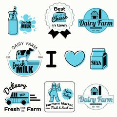 dairy farm  badges vintage style