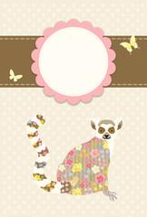 花柄のワオキツネザル