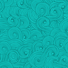 Seamless abstract pattern background with waves and clouds