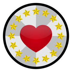 Vector Love Heart with Five Point Star in Circle Shape Emblem