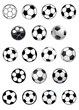 Black and white soccer balls or footballs - 77810786