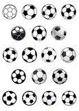 Fototapety Black and white soccer balls or footballs