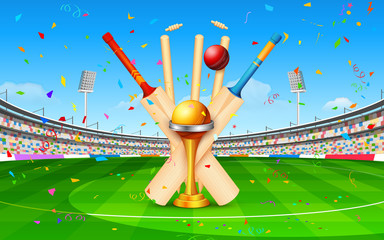 Stadium of cricket with bat, ball and trophy