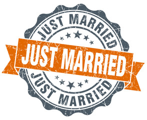just married vintage orange seal isolated on white
