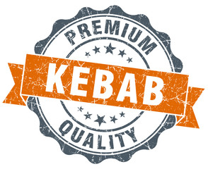 kebab vintage orange seal isolated on white