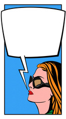 Pop Art Woman and Comic Bubble. Vector Illustration