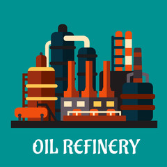 Oil refinery factory in flat style