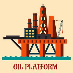 Cartoon sea oil platform