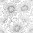 seamless monochrome floral patterrn