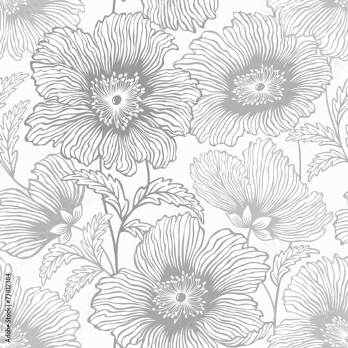 Obraz na Szkle seamless monochrome floral patterrn