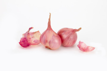 close up red onion or shallots with shell