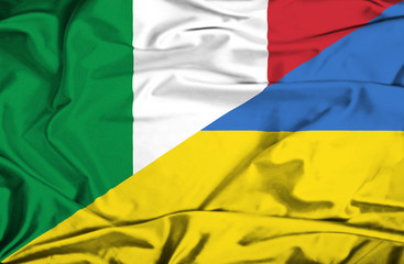 Waving flag of Ukraine and Italy