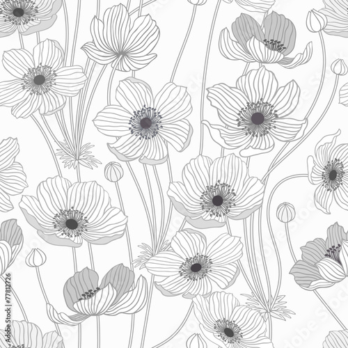 seamless pattern with summer flowers - 77812726