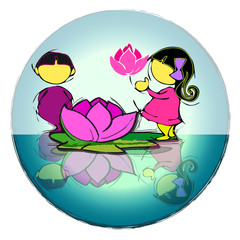 children with lotus flower