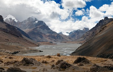 view from Indian himalayas - mountain and river valley