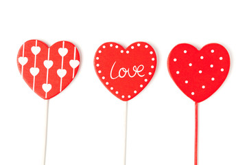Isolated red hearts for valentines day