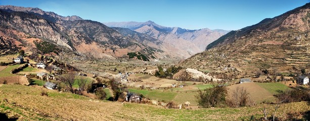 Autumnal panoramic view from western Nepal