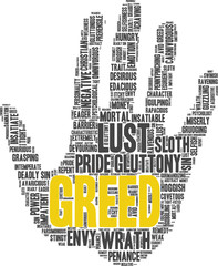 Tag cloud related to seven deadly sins: greed