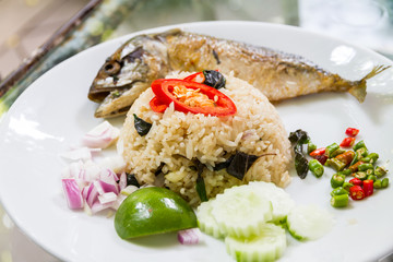 thai style fried basil and rice with mackerel