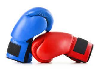 Two leather boxing gloves isolated on white