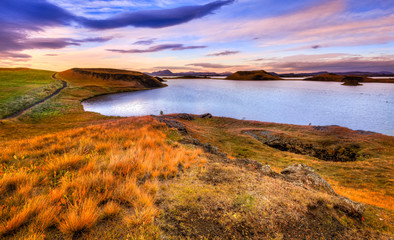 Sunset at Lake Myvatn