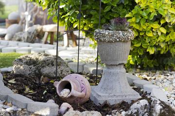 Garden with homemade flower pot