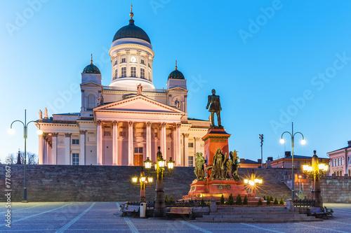 Staande foto Scandinavië Evening Senate Square, Helsinki, Finland