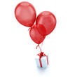 Gift with balloons red