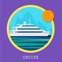 Cruise Ship vector Illustration. Retro styled white cruise ship