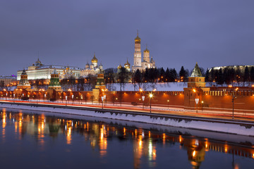 Panorama of the Moscow Kremlin in the night