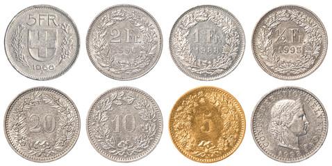 Swiss Franc coin set