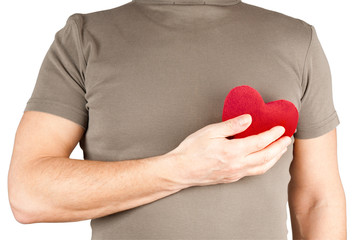Man holding soft heart